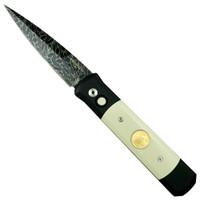 Pro-Tech Custom Tuxedo Godfather Auto Knife, Ivory Micarta & Pure Gold, Damascus Blade