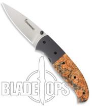 Browning Escalade Large Folder Knife, Brown Box Elder Burl Handle, 667