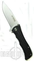 Blackjack Model 1 Drop Point Spring Assist Knife, Black, PLN, BJ032