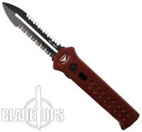Paragon Red PARA-XD OTF Auto Knife, DLC Black Serrated Dagger Blade