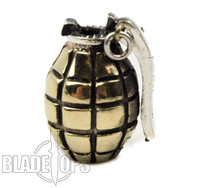 Lion ARMory Hand Grenade Brass Lanyard Bead