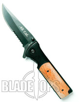 45 Caliber Spring Assisted Knife, Black Tactical Serrated Blade