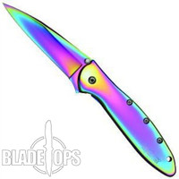 Kershaw Titanium Rainbow Leek Assisted Opener Knife, KS1660VIB