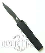 Benchmade H&K Tumult OTF Knife, Tactical Black, Part Serrated Edge, 14800SBK