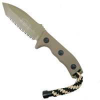 Microtech Tan Currahee T/E Fixed Blade Knife, Full Serrated Tan Blade
