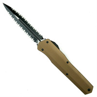 Microtech 242S-D3TA Tan Smooth Cypher D/E OTF Auto Knife, Double Full Serrated Black Blade