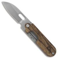 BlackFox Knives BF-719ZW Bean Gen 2 Wood/Stainless Steel Non-Locking Folder Knife, Satin Blade