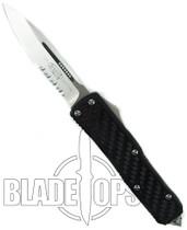 Microtech Daytona OTF Knife, Stonewash Part Serrated Edge, MT124-11
