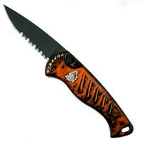 Piranha Orange Fingerling Auto Knife, 154CM Black Combo Blade