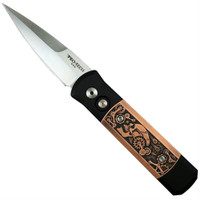 Pro-Tech Limited 7SP-4 Godson Auto Knife, Copper Steampunk, 154CM Satin Blade