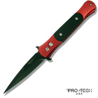 Pro-Tech The Don, Black Plain Blade with Red Bolsters and Black Inlays