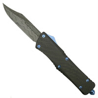 Marfione Custom Knives Combat Troodon Carbon Fiber/Alloy Bowie OTF Auto Knife, Damascus Blade