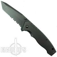 Schrade SCH306TS FrameLock Folding Knife, Combo Tanto Blade