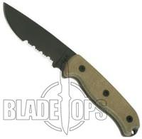 Ontario TAK 1 Fixed Blade Knife, Serrated Edge, Micarta Handle