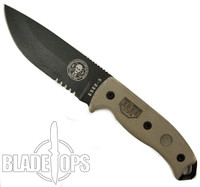 ESEE Knives ESEE-5S Micarta Fixed Blade Knife, 1095 Carbon Black Combo Blade