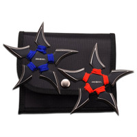 Perfect Point 90-45BR-2 Blue/Red Green 2-Piece Throwing Star Set, Black Finish