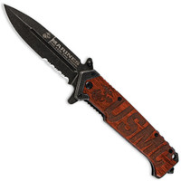 USMC UC3134 Beachhead Wood Spring Assist Knife. Black/Stonewash Combo Blade