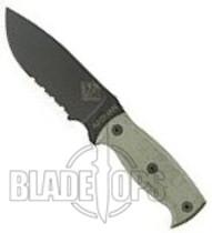 Ontario Ranger Series Afghan Black Micarta Serrated Knife, 9419BMS