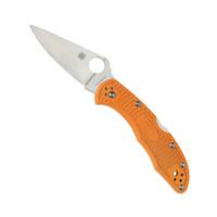 Spyderco Burnt Orange Delica 4 FRN Lightweight Folder Knife, Sprint Run, HAP40 Satin Blade