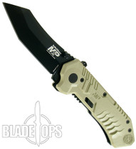 Smith & Wesson Military Police Knife, Tan Handle, Black.Tanto Blade, SWMP2BD