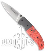 Browning Escalade Medium Folding Knife, Red Box Elder Burl Handle, 668