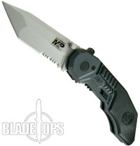 Smith & Wesson Military & Police MAGIC Assist Knife, Satin Combo Tanto Blade, SWMP3S