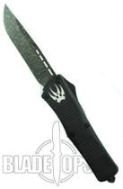 Microtech Custom Combat Troodon OTF Knife, Single Edge Damascus Blade