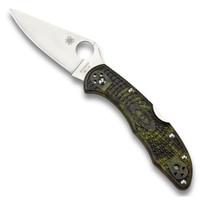 Spyderco Zome Green Delica 4 Folder Knife, VG-10 Satin Blade