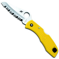 Spyderco Salt I Folding Lockback Knife, H1 Steel SpyderEdge Blade, Yellow FRN Handle, C88SYL