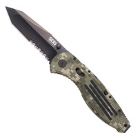 SOG Aegis Folder, A/O, Digi Camo, Black Tanto, Part Serrated Blade