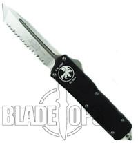Microtech Executive Scarab OTF Knife, Tanto Satin Finish Fully Serrated Blade, 108-6