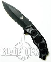 KA-BAR FIN Fixed Blade Knife, Drop Point, Part Serrated, KA5555