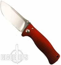 Lion Steel Knives SR1-Al Red Aluminum Folder Knife, Satin Plain Blade