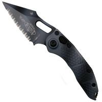 Microtech 169-3UC Borka Urban Camo Stitch Wharncliffe Auto Knife, Full Serrated Urban Camo Blade