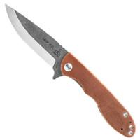TOPS MSF-4.0 Mini Scandi Folder 4.0 Micarta Flipper Knife, N690Co Tumbled Blade