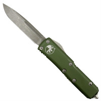 Microtech 231-10APOD OD Green UTX-85 S/E OTF Auto Knife, Apocalyptic Stonewash Blade