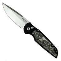 Pro-Tech Limited TR-3.50 Tactical Response 3 Prototype Auto Knife, Grey Coin Struck Steampunk, 154CM Satin Blade