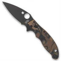 Spyderco Sprint Run C101MGPBRBBK Brown/Black Manix 2 Burled G-10 Folder Knife, CPM-S90V Black Blade