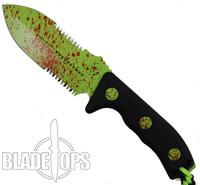 Microtech Crosshair D/E Fixed Blade Knife, Zombie Green Combo Blade