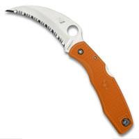 Spyderco Sprint Run C77SOR Orange SpyderHawk Salt Hawkbill Folder Knife, H1 Satin SpyderEdge Blade