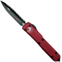 Microtech 122-3CCRD Red Contoured Ultratech D/E OTF Auto Knife, Full Serrated Black Blade