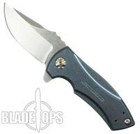 Zero Tolerance Blue Custom Anodized Les George 0900 Flipper Knife, Stonewash Blade