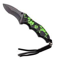 Z-Hunter Spring Assist Knife, Black w/ Green Biohazard, Stonewash Plain Blade
