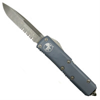 Microtech 231-11APGY Grey UTX-85 S/E OTF Auto Knife, Apocalyptic Stonewash Combo Blade