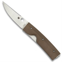 Spyderco Nilakka Folder Knife, Brown G-10 Handle, Plain Blade