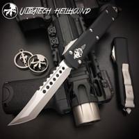Microtech 119-10AP Ultratech Hellhound Tanto OTF Auto Knife, Apocalyptic Stonewash Blade