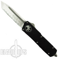 Microtech Tanto Executive Scarab OTF Knife, Satin Fully Serrated Blade