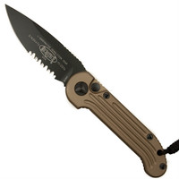 Microtech 135-2TA Tan LUDT Auto Knife, Black Combo Blade