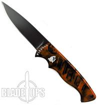 Piranha Orange Pocket Auto Knife, 154CM Black Blade
