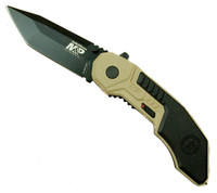 Smith & Wesson M&P MAGIC Assist Knife, Tanto Black Plain Blade, Tan Handle, SWMP3BD